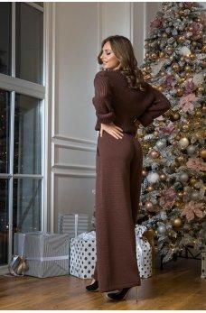 Кардиган с брюками шоколадного цвета