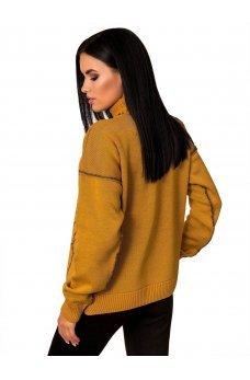 Горчичный свитерок с черным узором