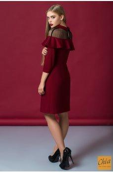 Нарядное платье винного цвета с воланом