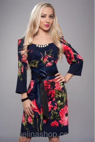 Цветочное платье с кожаным поясом