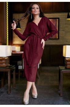 Бордовое платье футляр с люрексовой ниткой
