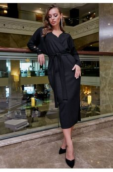 Черное платье футляр с люрексовой ниткой