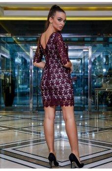 Кружевное платье марсалового цвета