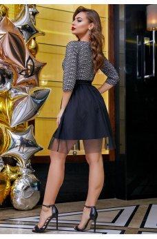 Милое платьице с пышной юбкой серо-черного цвета