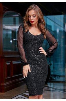 Нарядное черное платье с шифоновыми рукавами