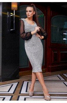 Нарядное серебрянное платье с шифоновыми рукавами