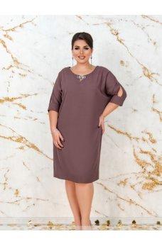 Платье прямого кроя цвета мокко
