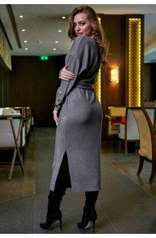 Серое платье футляр с люрексовой ниткой