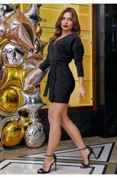 Праздничное черное платье из люрекса