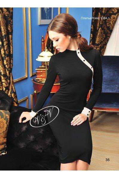 Черное платье с отделкой шампань