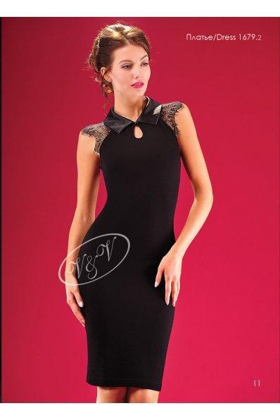 Нарядное платье с атласным воротником