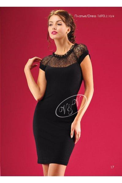 Черное платье с гипюровым верхом