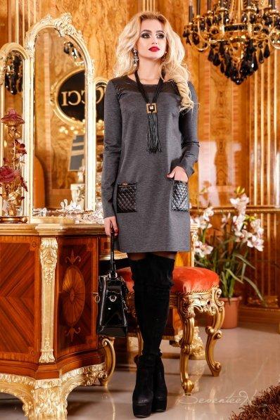 Стильное платье туника в мелкую елочку