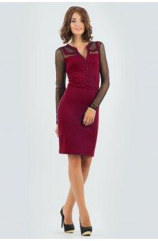 Стильне вишневе ділове плаття