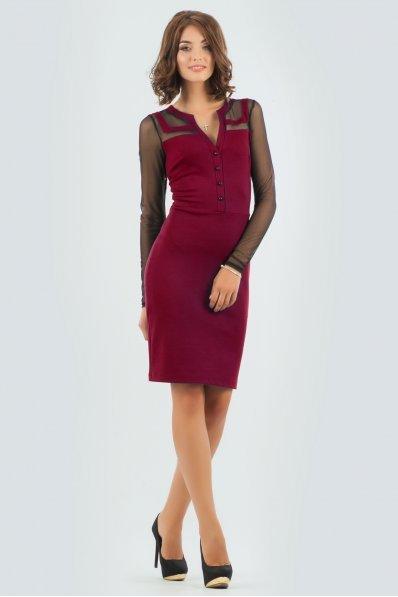 Стильное вишневое деловое платье