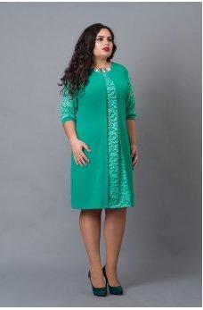 Праздничное бирюзовое платье со вставкой из гипюра