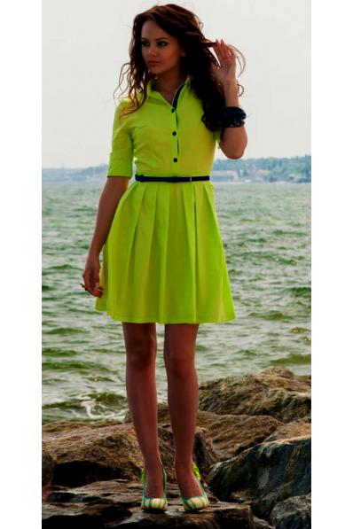 Салатовое платье стрейч-котон