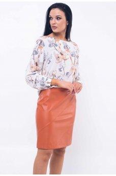 Модная юбка карамельного цвета из эко-кожи