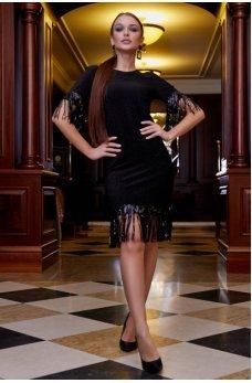 Вечернее черное платье с люрексовой нитью