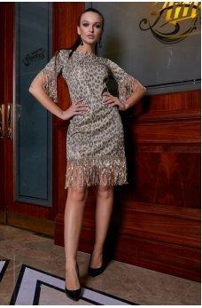 Золотое леопардовое платье с люрексовой нитью