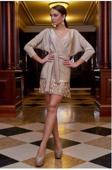 Золотистое платье из итальянского трикотажа с люрексовой ниткой