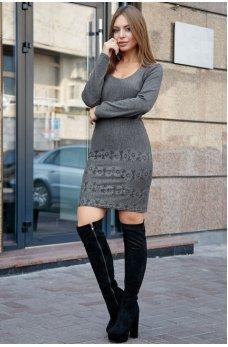 Классическое платье футляр серого цвета