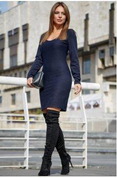Классическое платье футляр темно-синего цвета