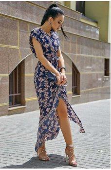 Нарядное летнее платье темно-синего цвета