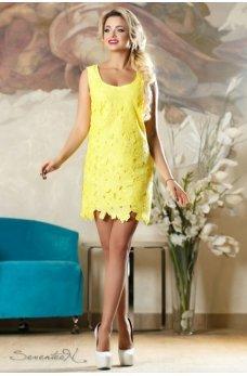 Элегантное кружевное платье желтего цвета