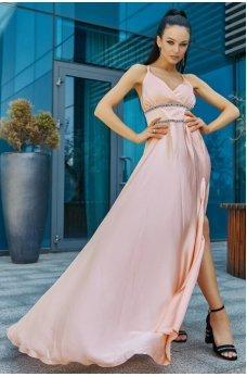 Роскошное пудровое длинное платье