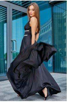 Роскошное черное длинное платье