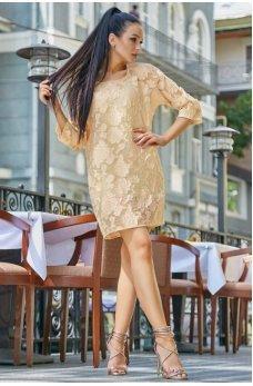 Необычное стильное платье персикового цвета