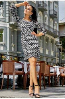 Необычное стильное платье черно-белого цвета