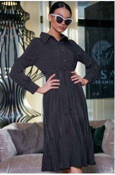 Романтичное черное платье в горошек с юбкой плиссе
