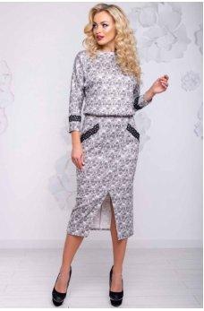 Гламурное платье с серыми разводами