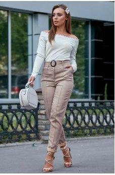 Кофейные брюки из льна