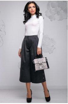 Модные темно-серые брюки-кюлоты