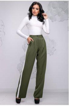 Удобные свободные брюки цвета хаки