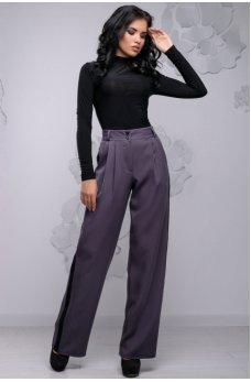 Удобные свободные брюки серые с черными вставками