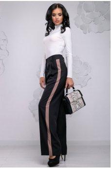 Удобные свободные черные брюки с бежевыми вставками