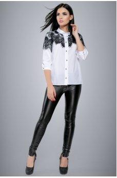 Белая рубашка с шикарным черным кружевом