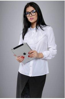 Белая рубашка с жабо из сетки в горох