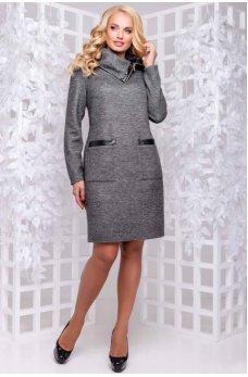 Теплое серое платье большого размера с оригинальным воротником
