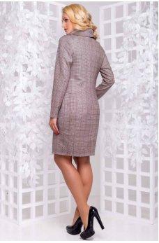 Теплое замшевое платье больших размеров в клетку