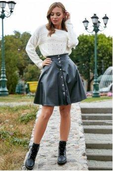 Черная пышная юбка из эко-кожи