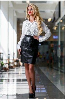 Лаконичная оригинальная черная юбка с эко-кожи