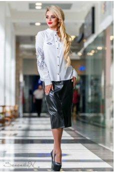 Безумно стильная кожаная черная юбочка