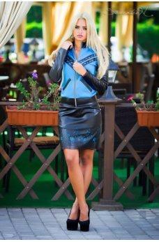 Стильная юбка с голубым нежным узором