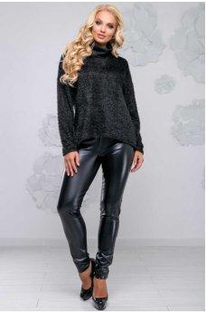 Черный свитер ассиметричного кроя из ангоры-травки