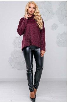 Бордовый свитер ассиметричного кроя из ангоры-травки